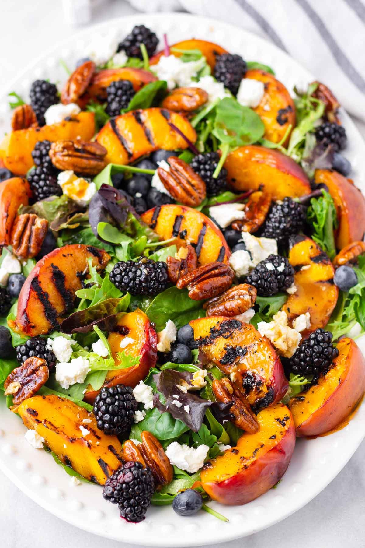 summer fruit salad on an oval plate