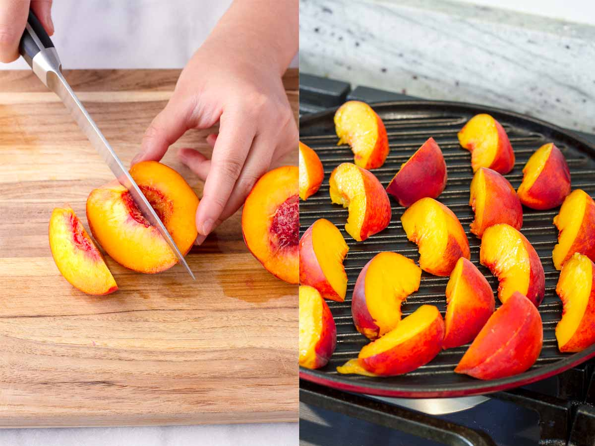 cutting peaches and grilling them on a round grill pan