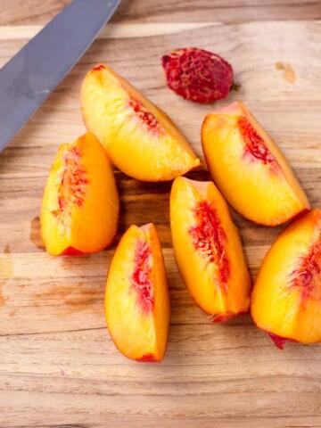 freshly cut peach wedges
