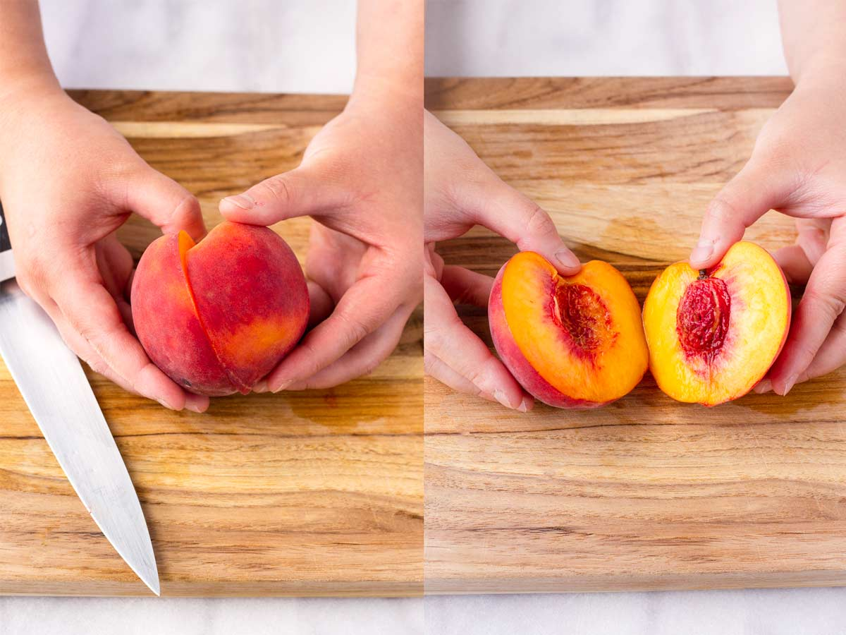 two pictures side by side splitting a cut peach inhalf