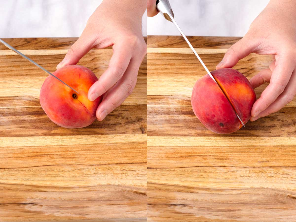two pictures side by side of a hand cutting a peach in half