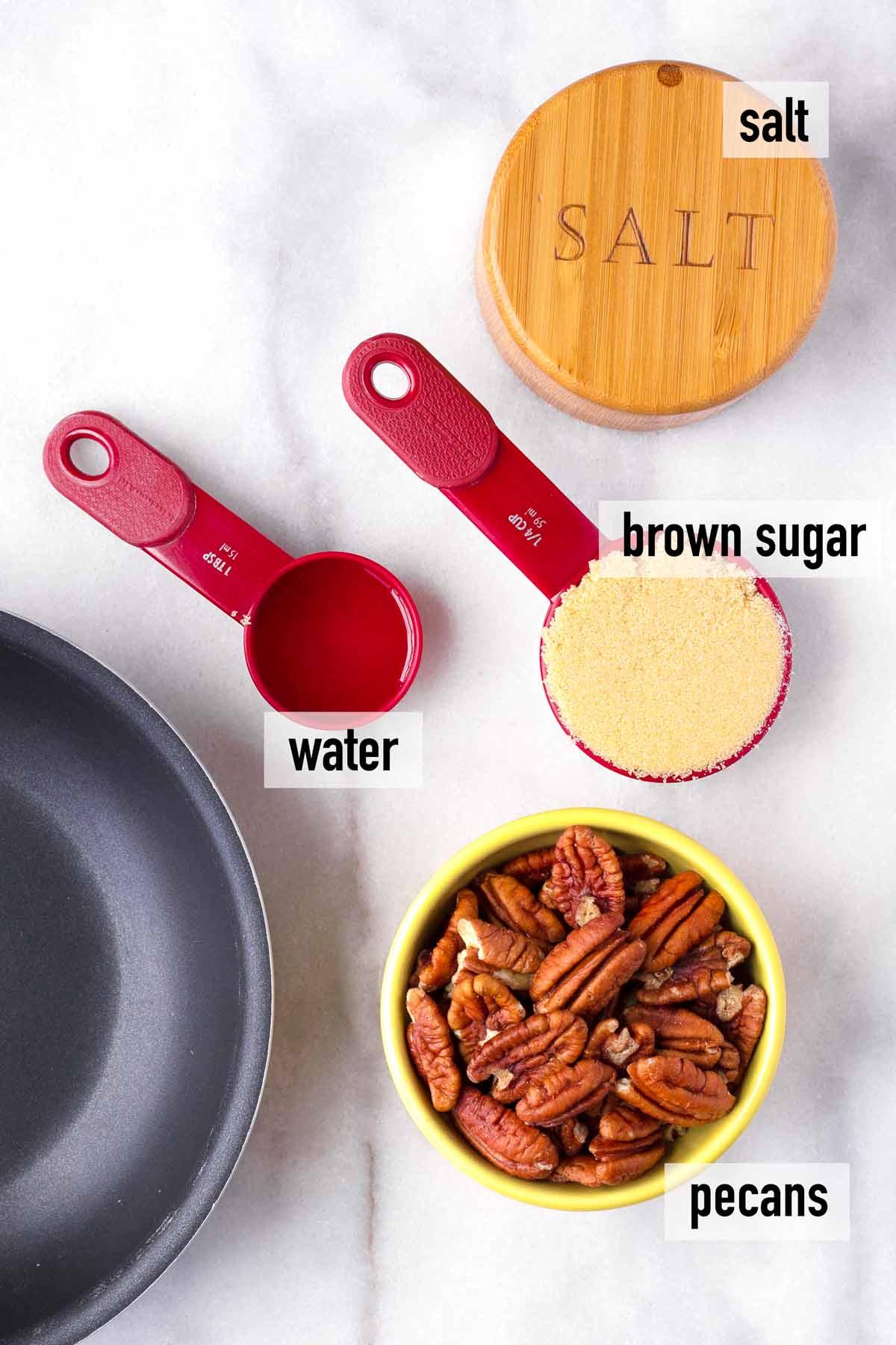 ingredients including water, salt, brown sugar, pecans
