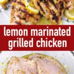 pin image design for lemon marinated grilled chicken