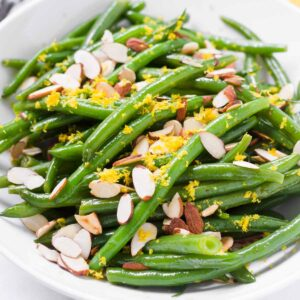 blanched green beans with almonds and lemon zest