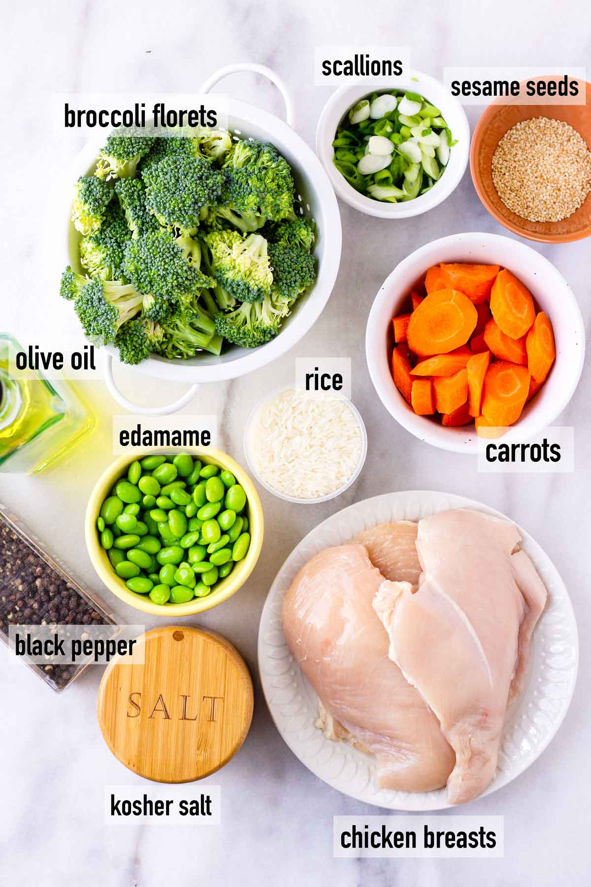 labeled ingredients to make chicken teriyaki rice bowls