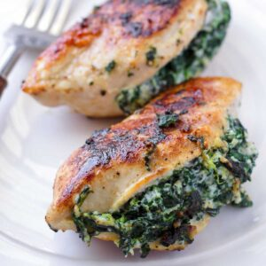 stuufed chicken breasts with spinach and cheese