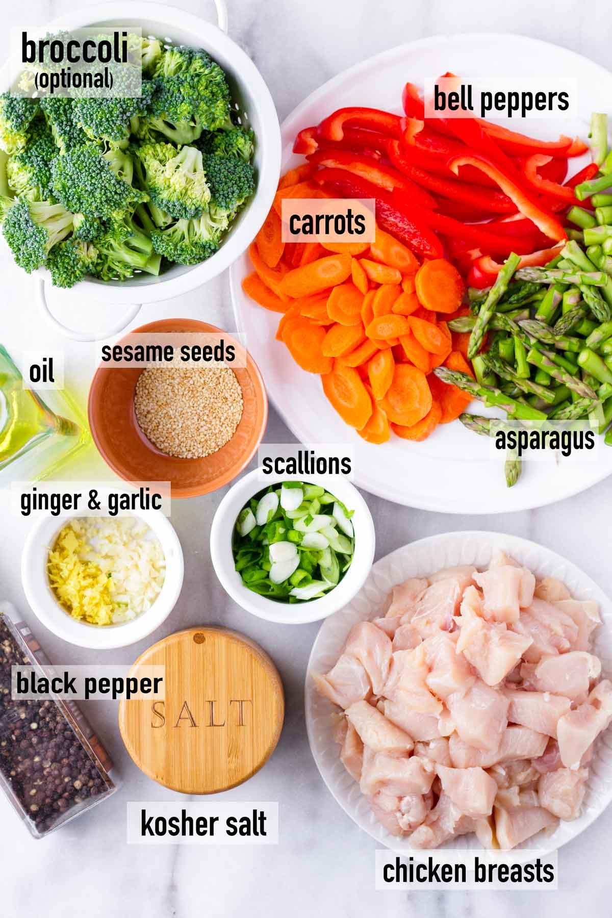 ingredients for chicken teriyaki stir fry