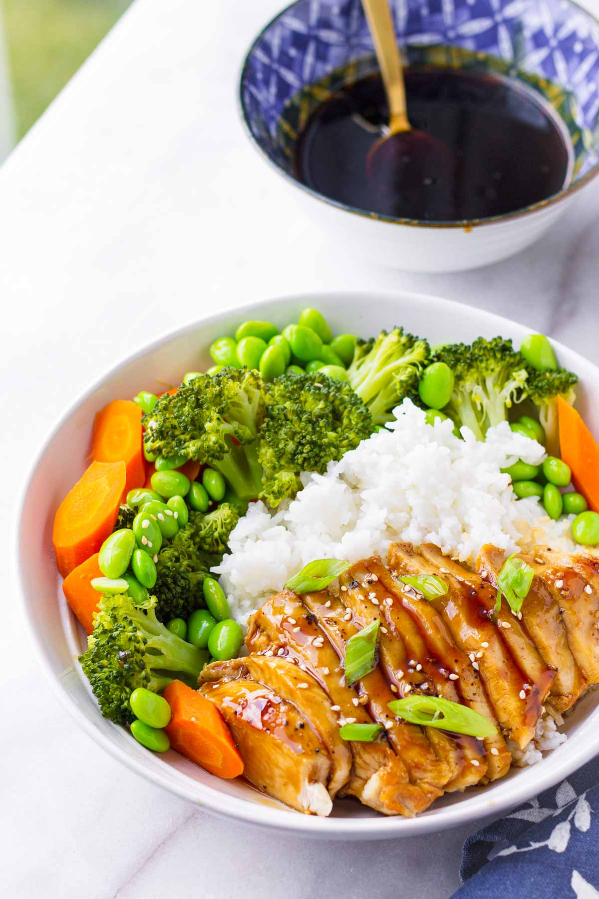 grain bowl with sliced chicken, edamame, broccoli, carrots and sauce