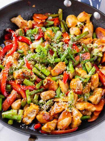 chicken teriyaki stir fry in large skillet