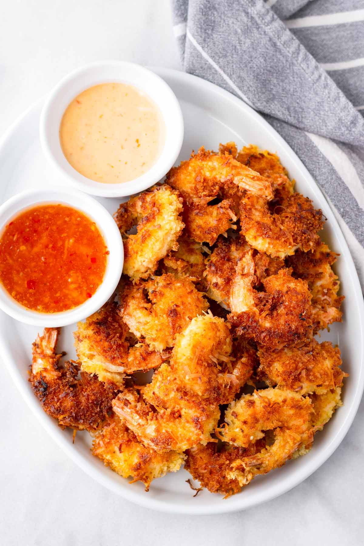 stacked friend prawns with two sweet chili sauces