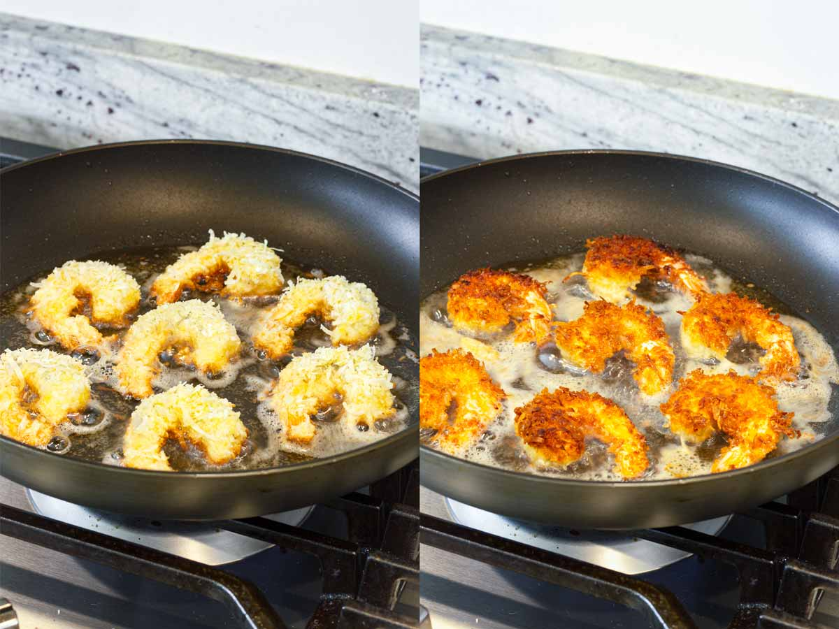 shallow frying on a skillet on the stovetop