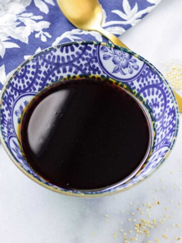 teriyaki sauce in a porcelain bowl