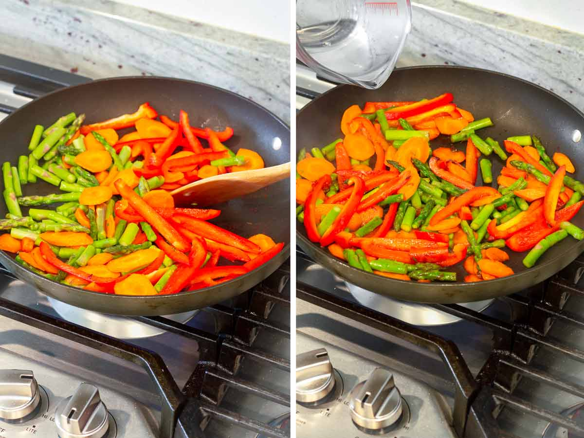 asparagus, carrots, and bell peppers in a large skillet