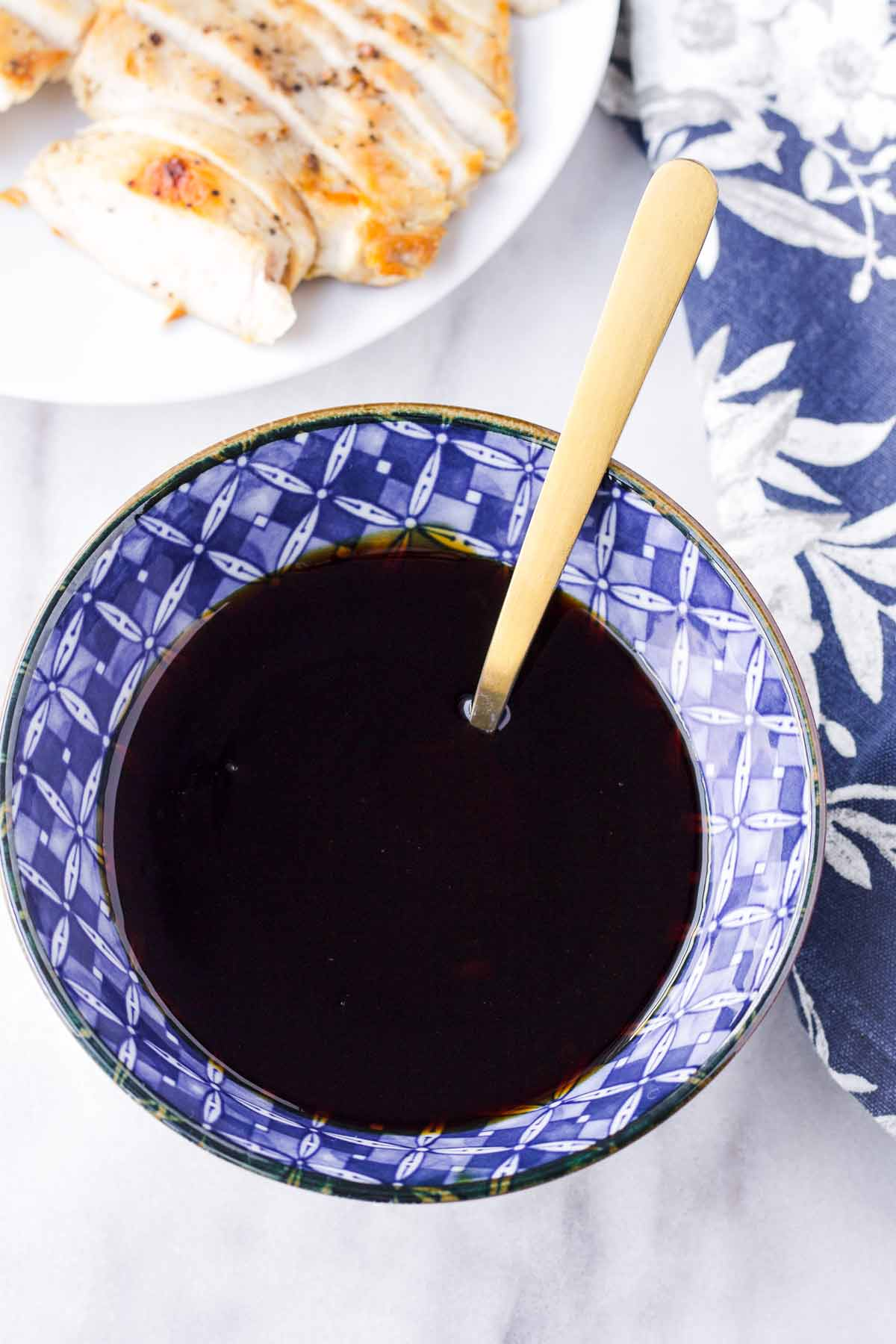 close up of authentic teriyaki sauce in a ceramic bowl