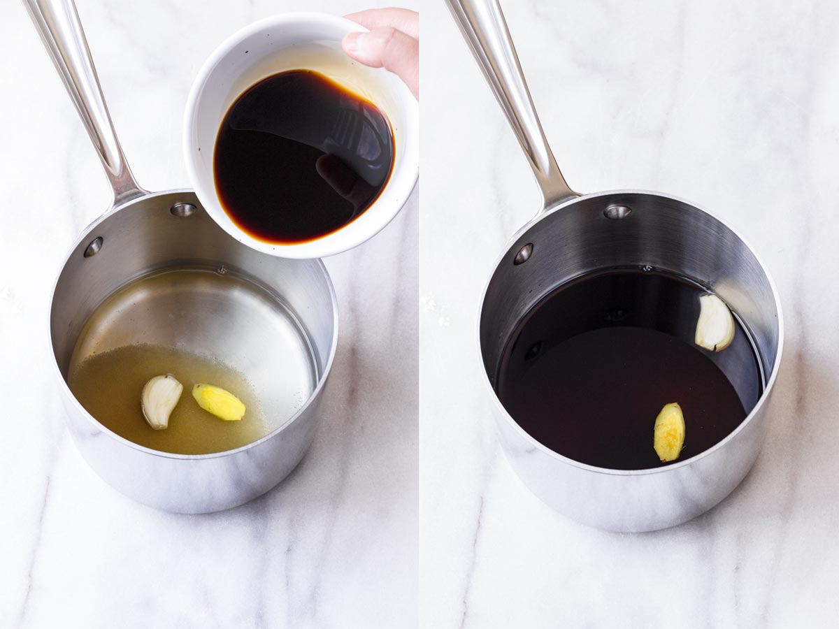 ingredients for teriyaki sauce being added into a saucepan