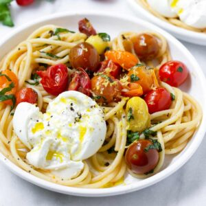 tomato basil pasta with burrata