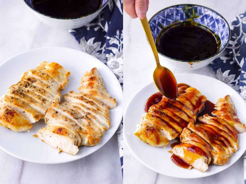 sliced chicken breasts with glaze being spooned over