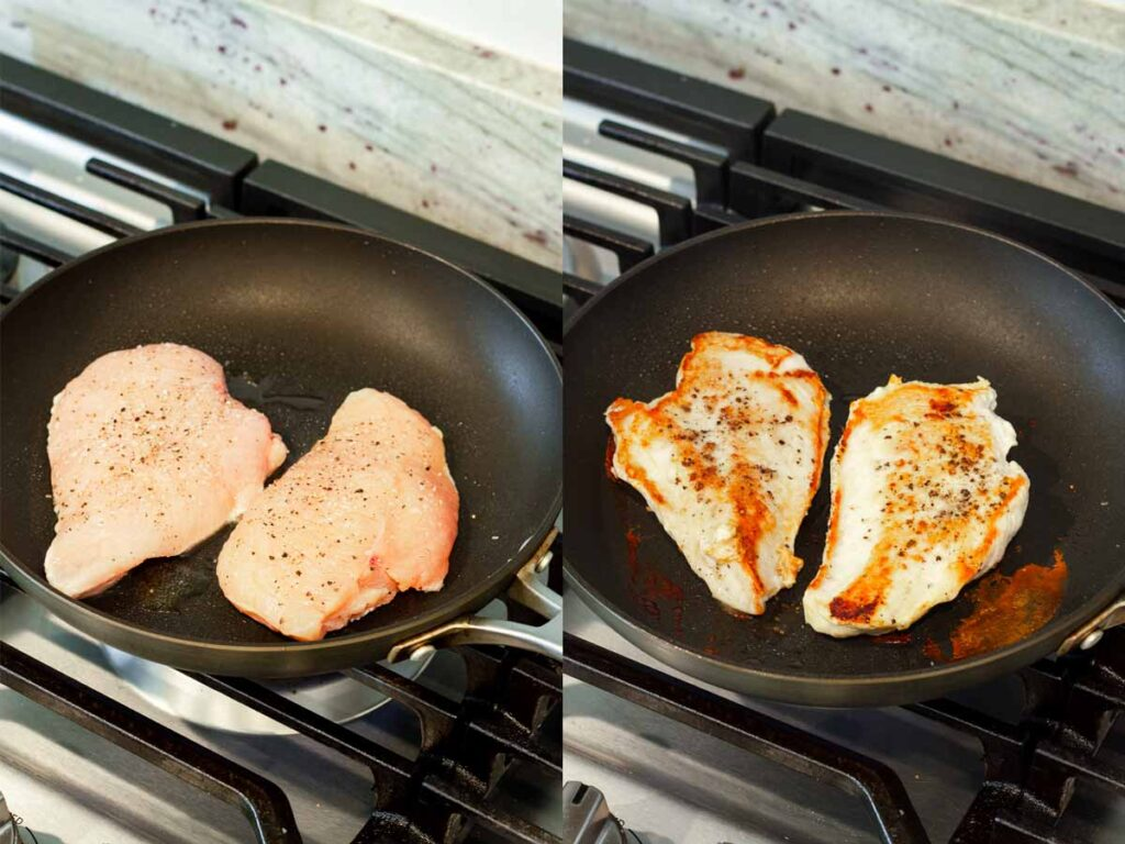 pan searing two skinless chicken breasts on skillet