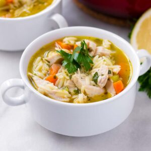 a bowl of turkey orzo soup