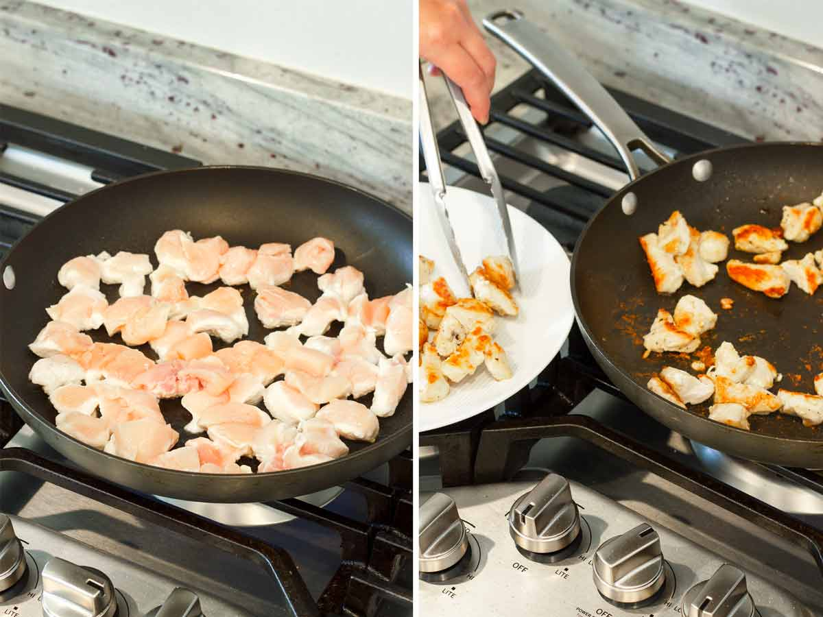 searing cubed chicken breast in skillet and removing from skillet