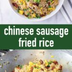 pin image design for chinese sausage fried rice