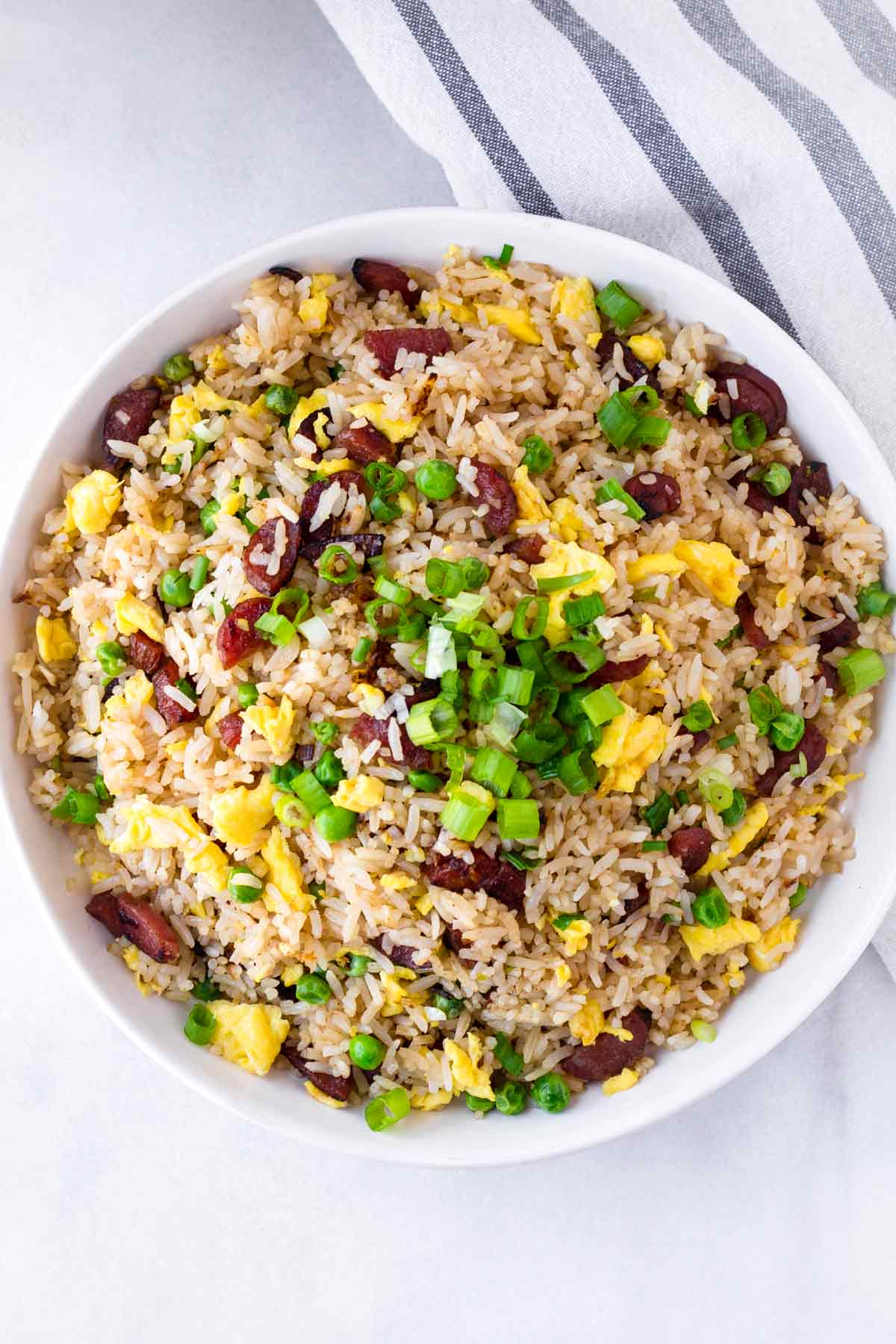 lap cheong fried rice in bowl