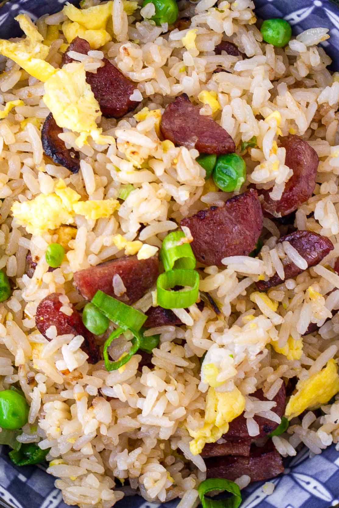 close up of lap cheong and rice