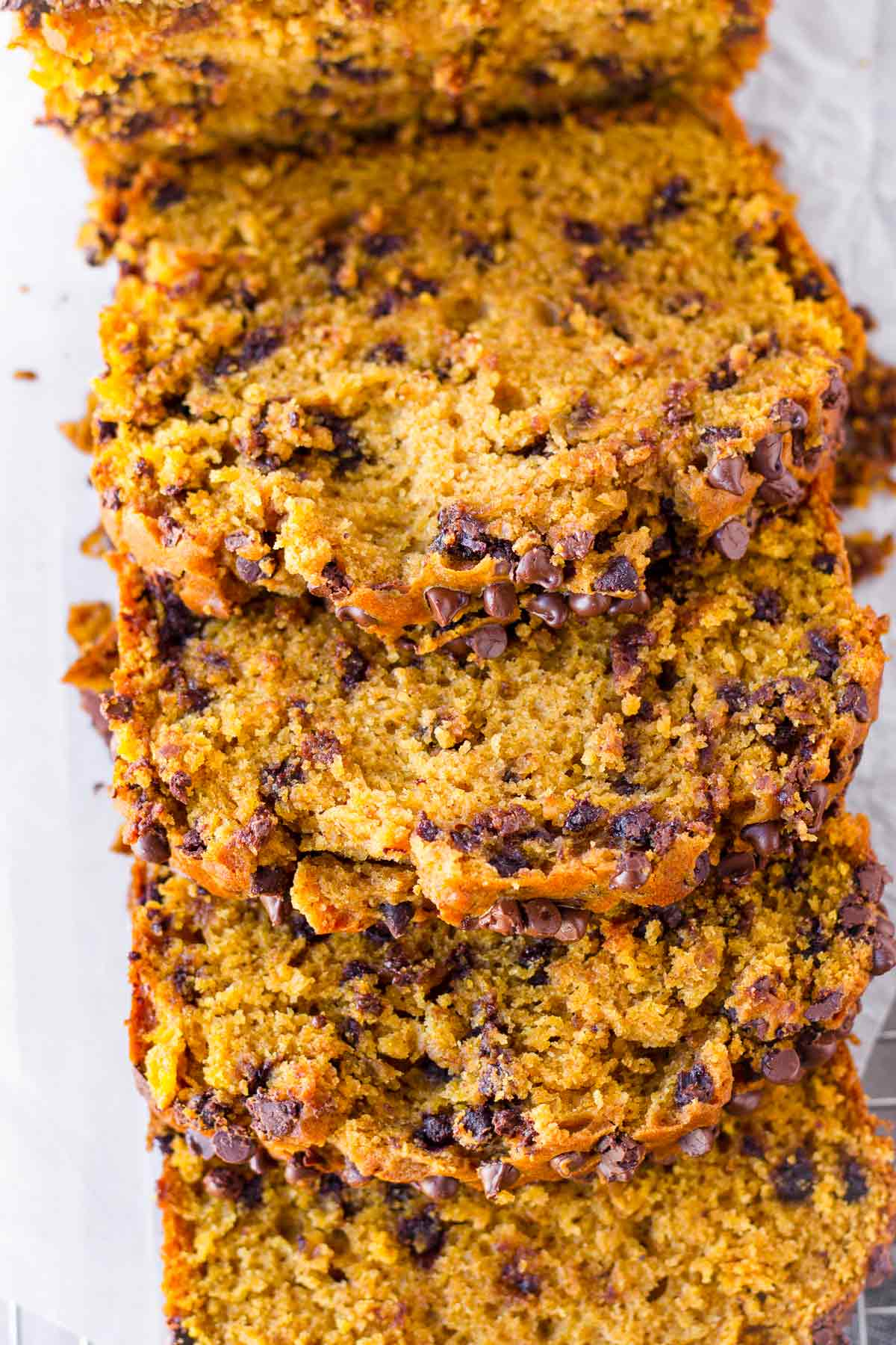 top view of pumpkin chocolate chip bread slices