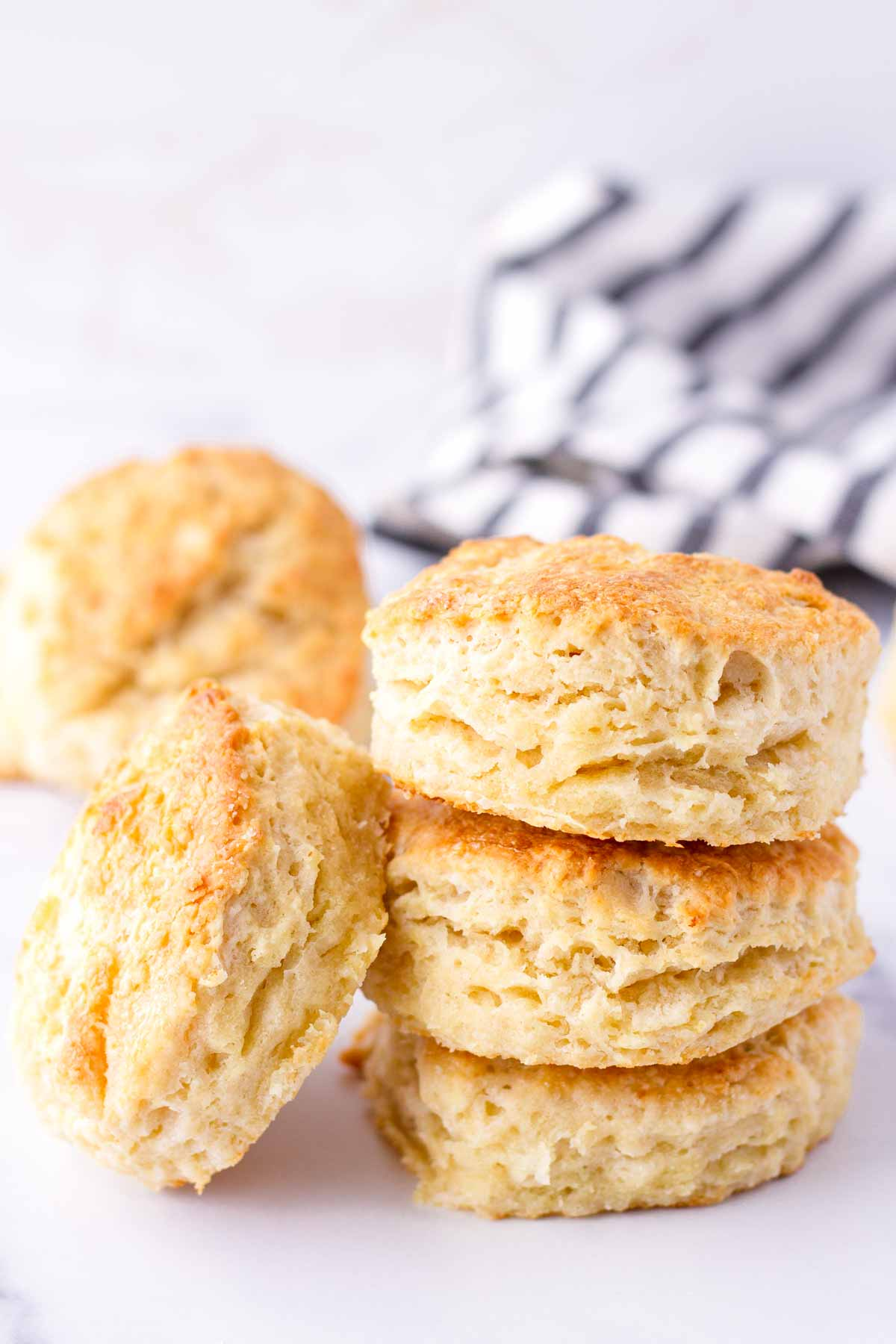 buttermilk biscuits stacked on top of eacher