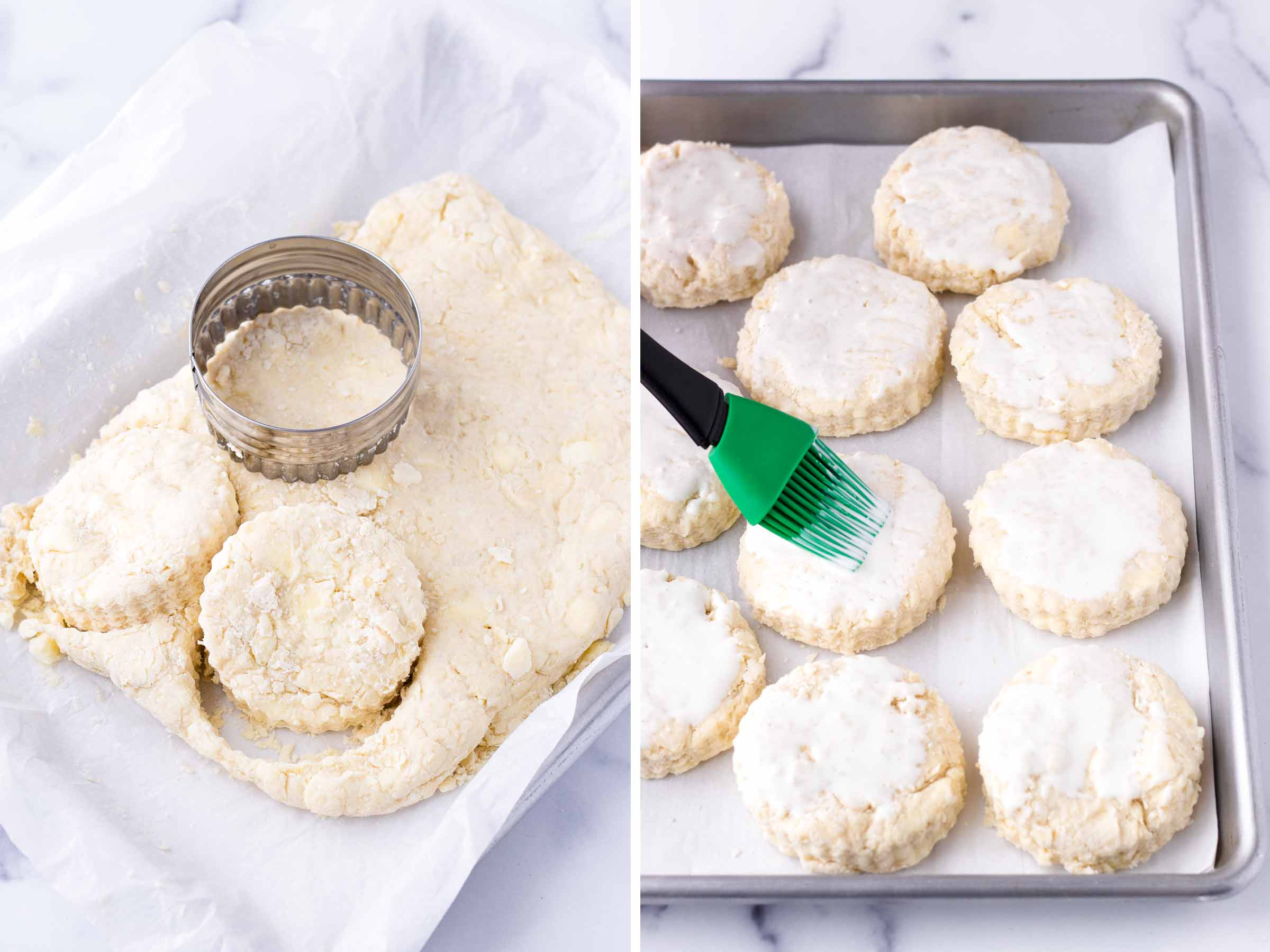 cutting out dough with round cutter and brushing with cream