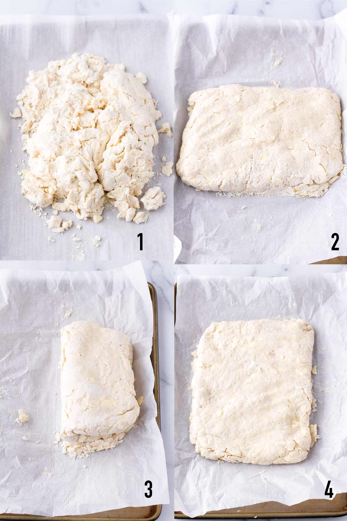 demonstrating how to work the dough to make biscuits