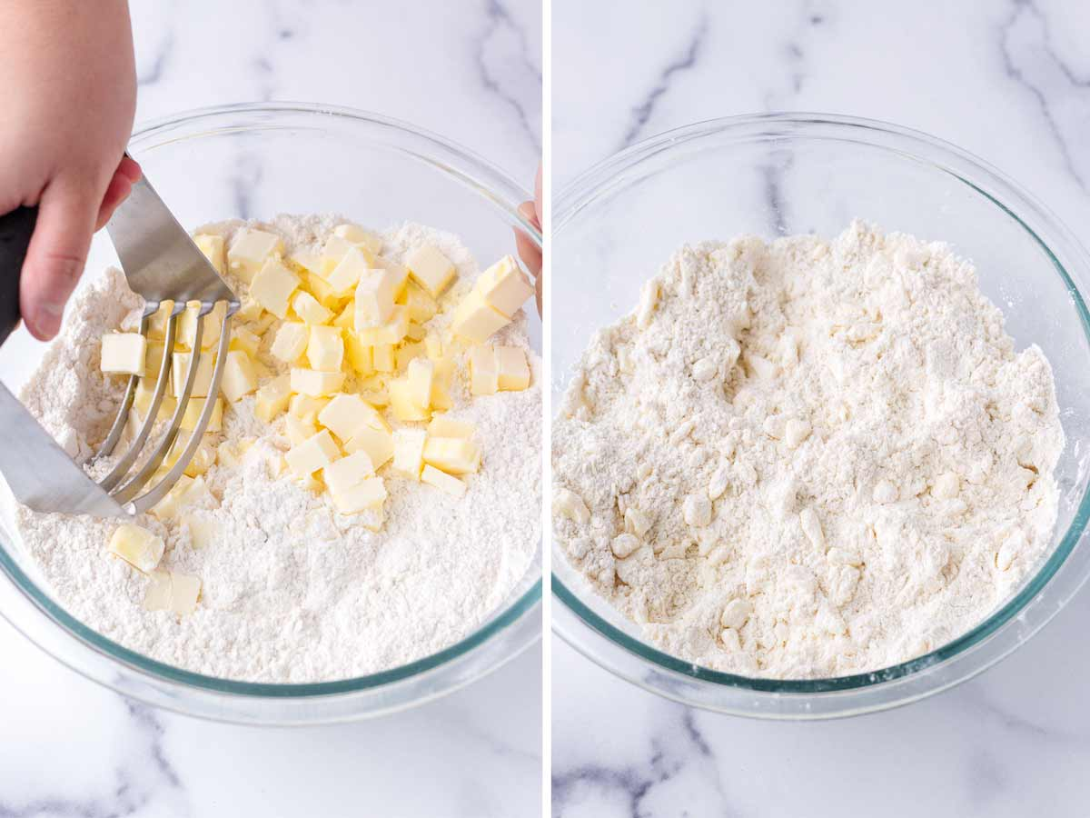 using a pastry cutter to work butter into the flour