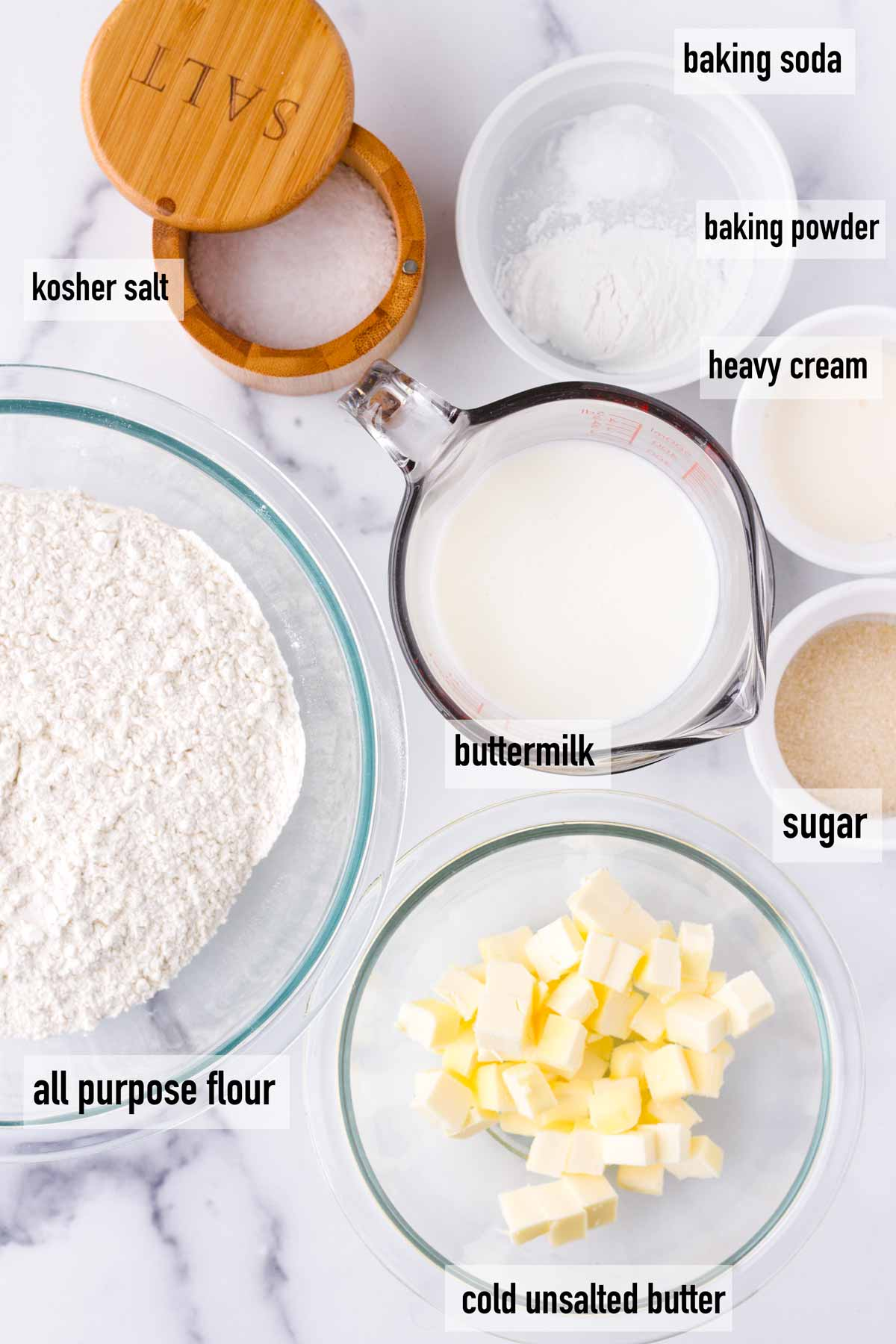 labeled ingredients to make buttermik biscuits