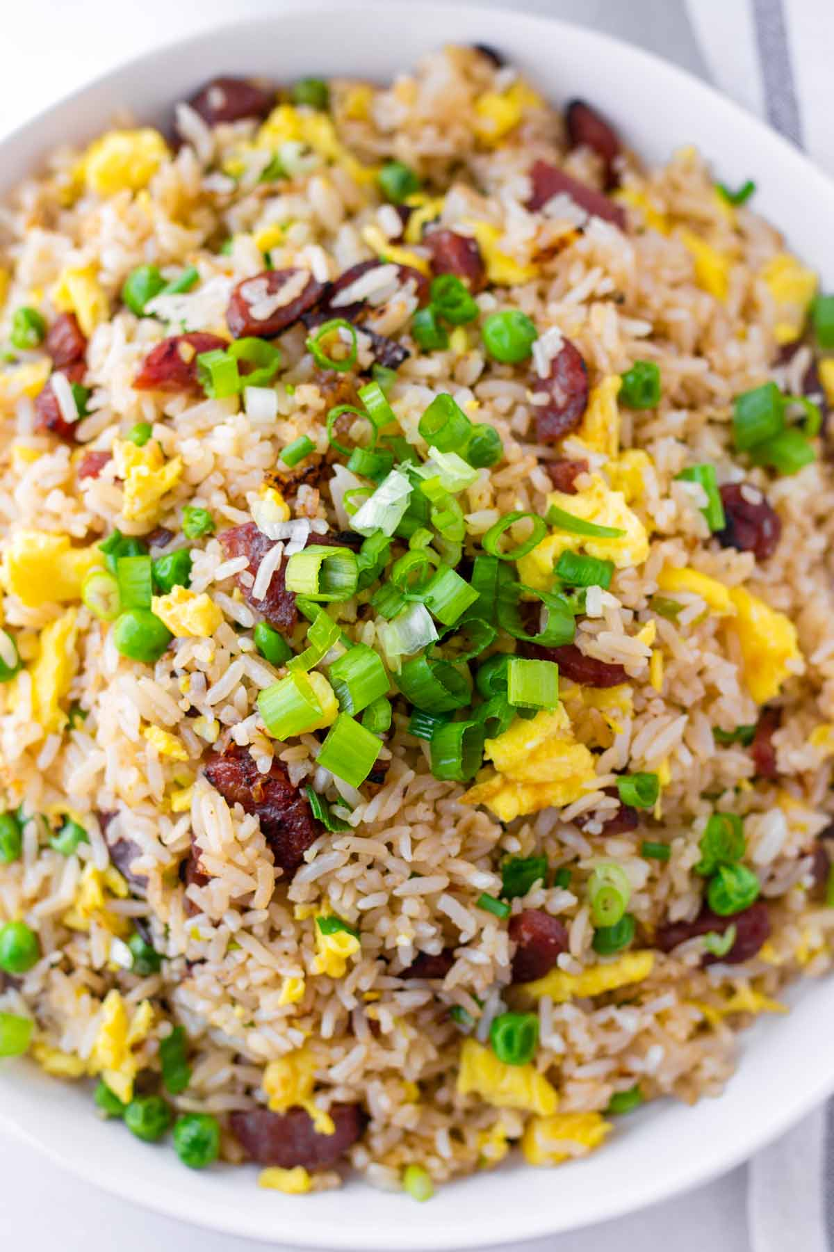 close up of fried rice with chinese sausage