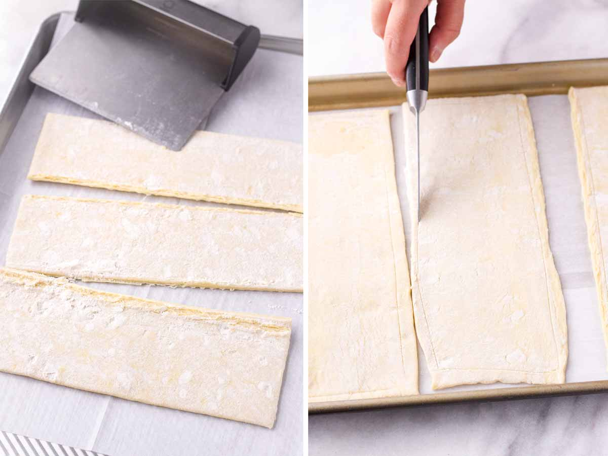 cutting puff pastry sheets into three rectangles