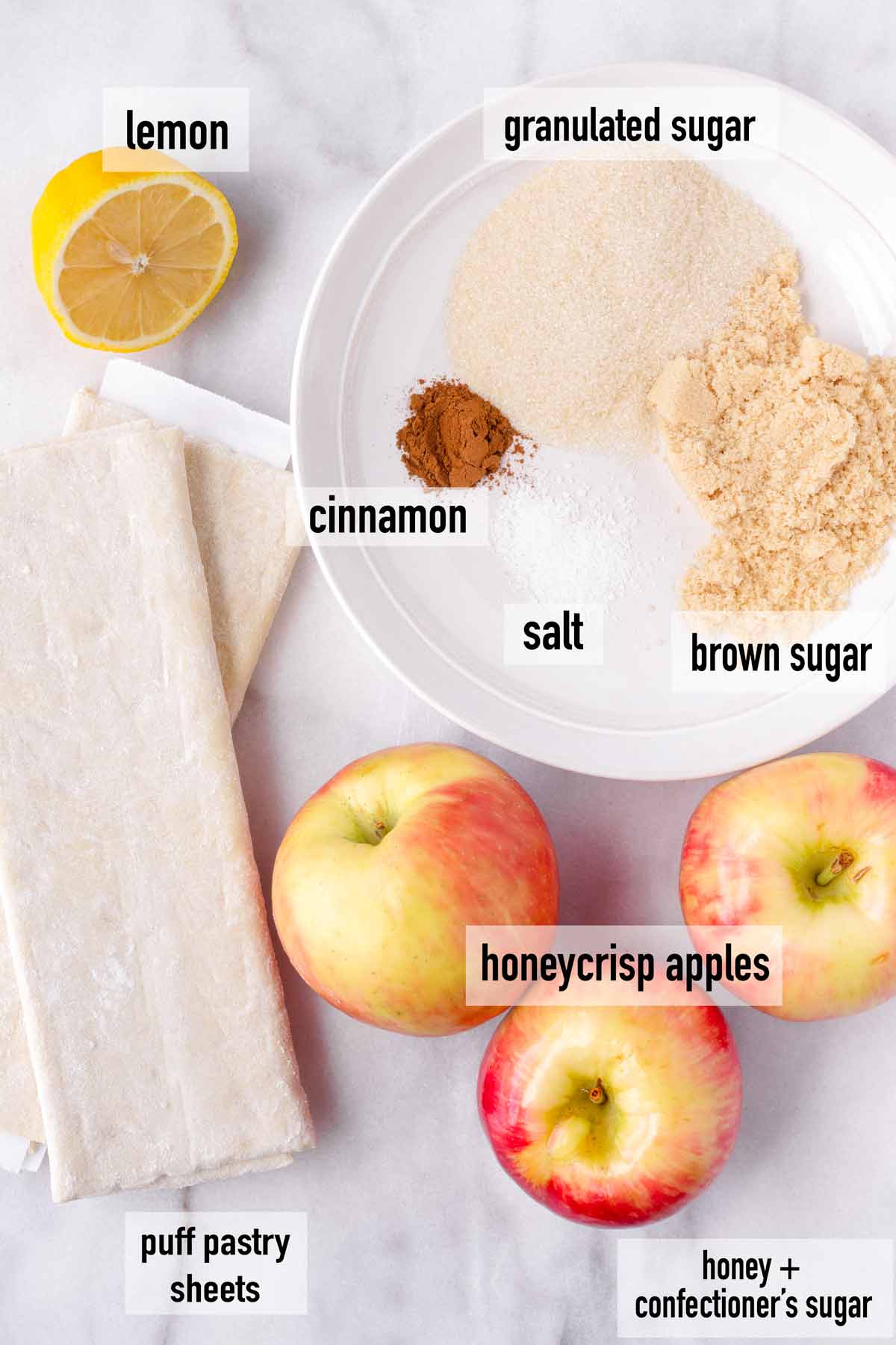 labeled ingredients for puff pastry apple tarts