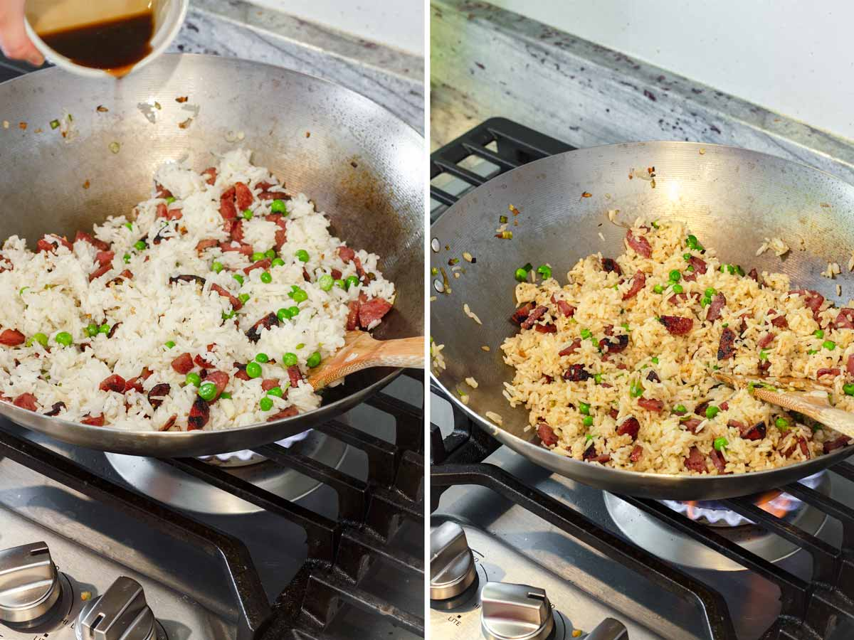 adding sauce to a wok with fried rice