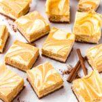 pumpkin cream cheese bars cut into squares