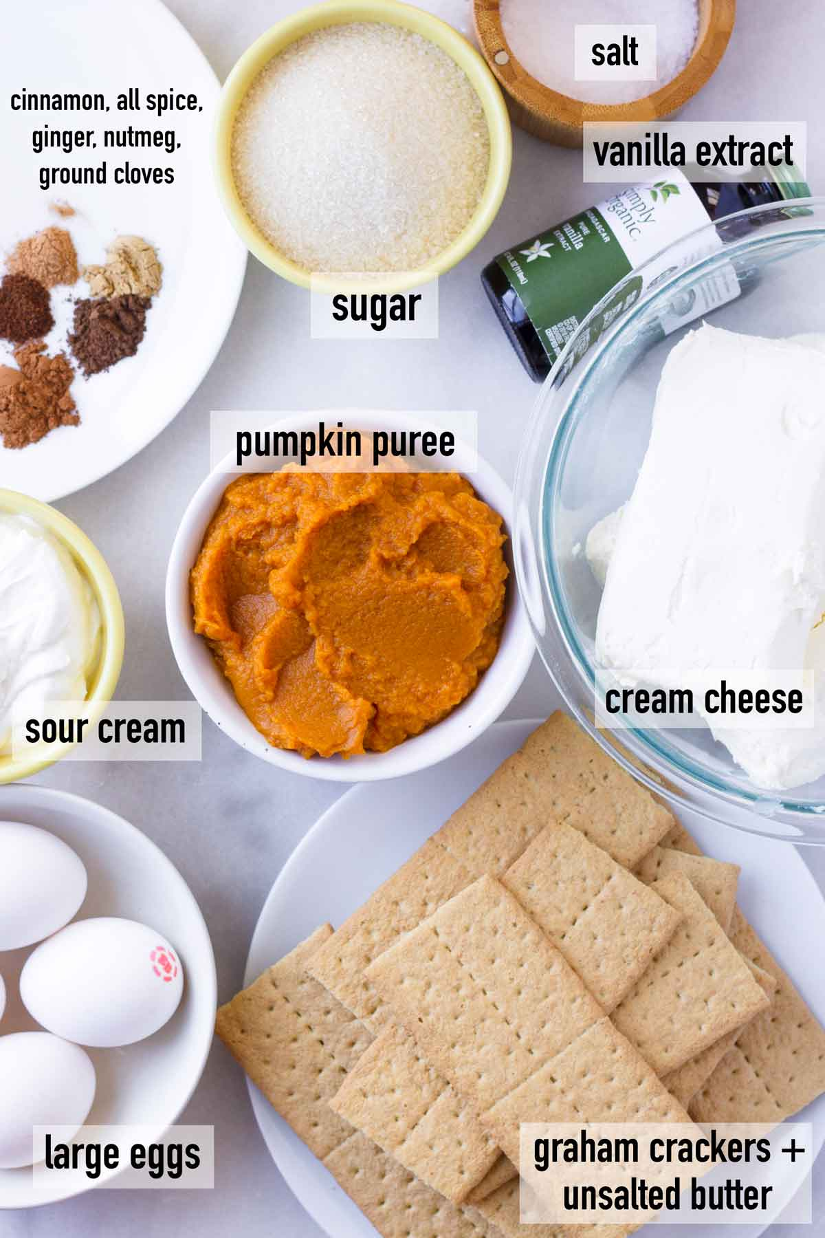labeled ingredients to make pumpkin cheesecake bars