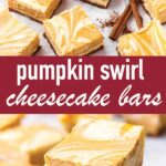 pin image design for pumpkin cheesecake bars recipe