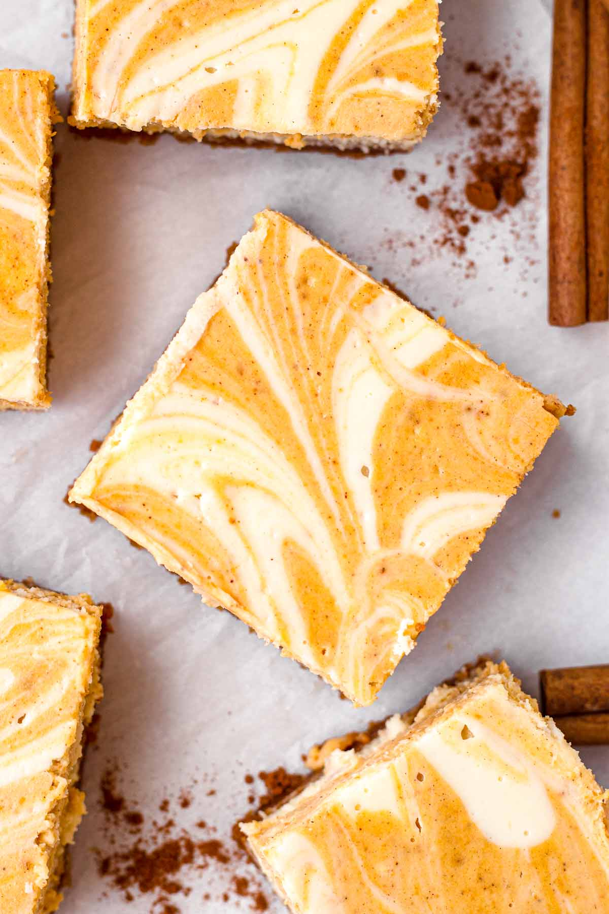 top view of one square of cream cheese pumpkin bar