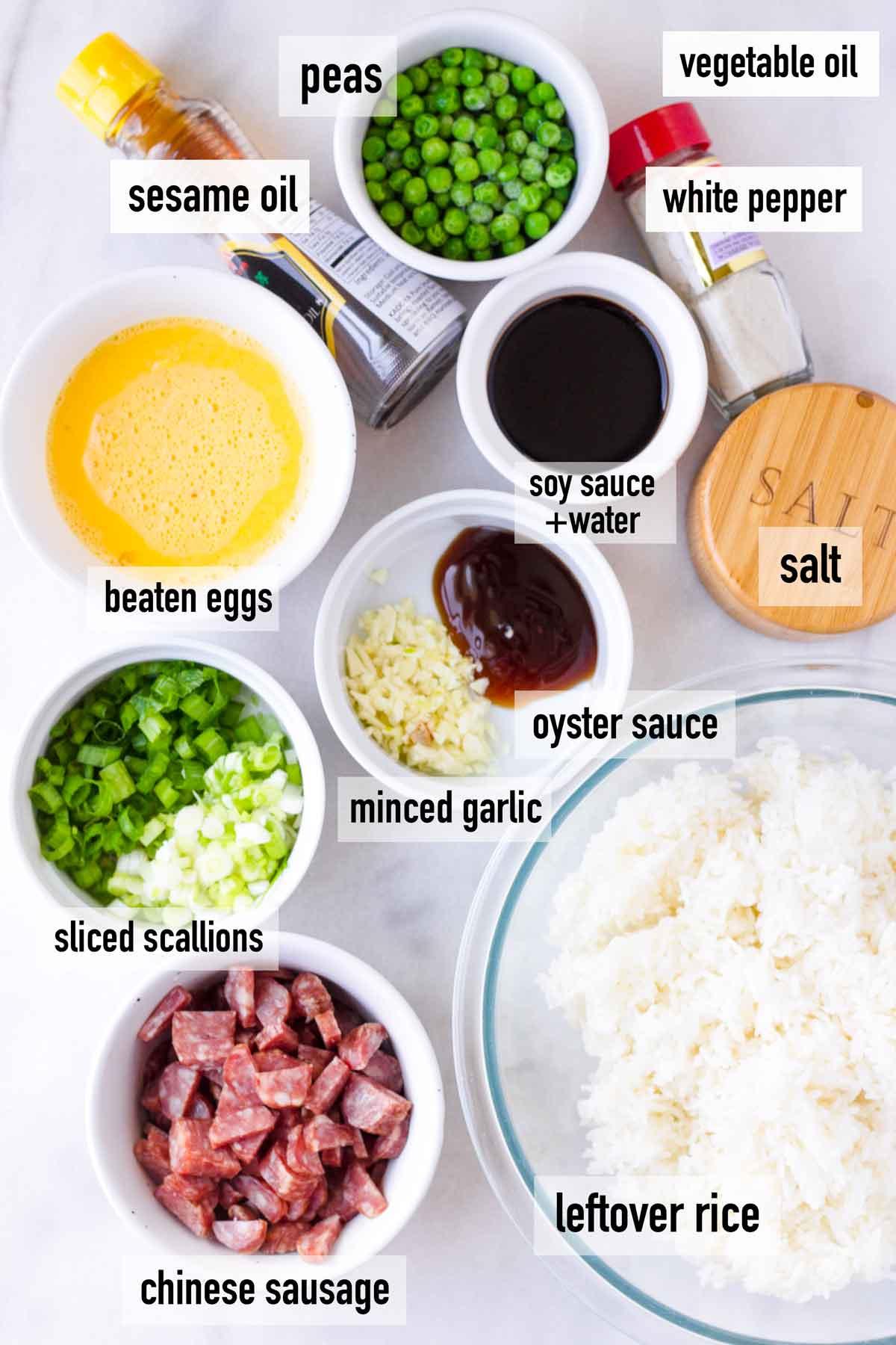 labeled ingredients to make sausage stir fry