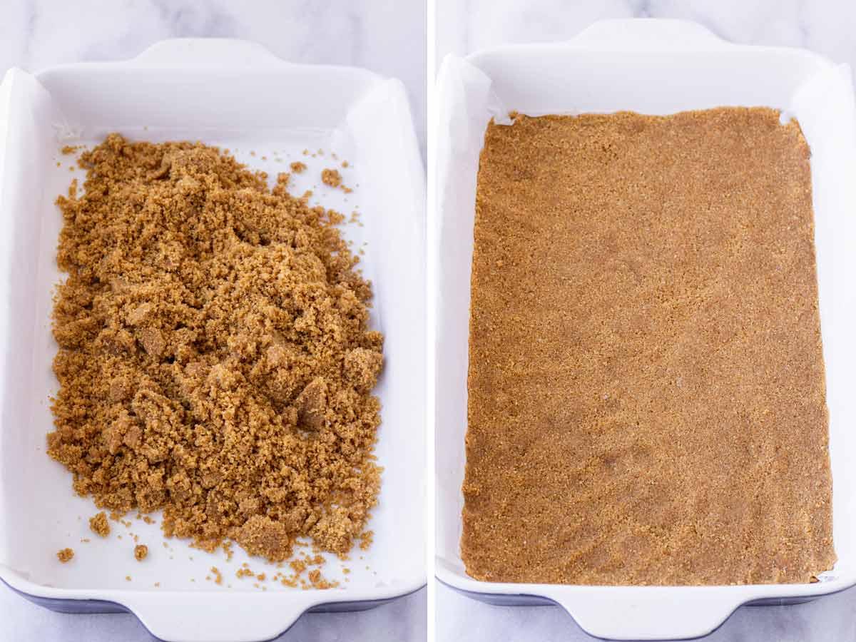 graham cracker crust in a 9x13 baking pan