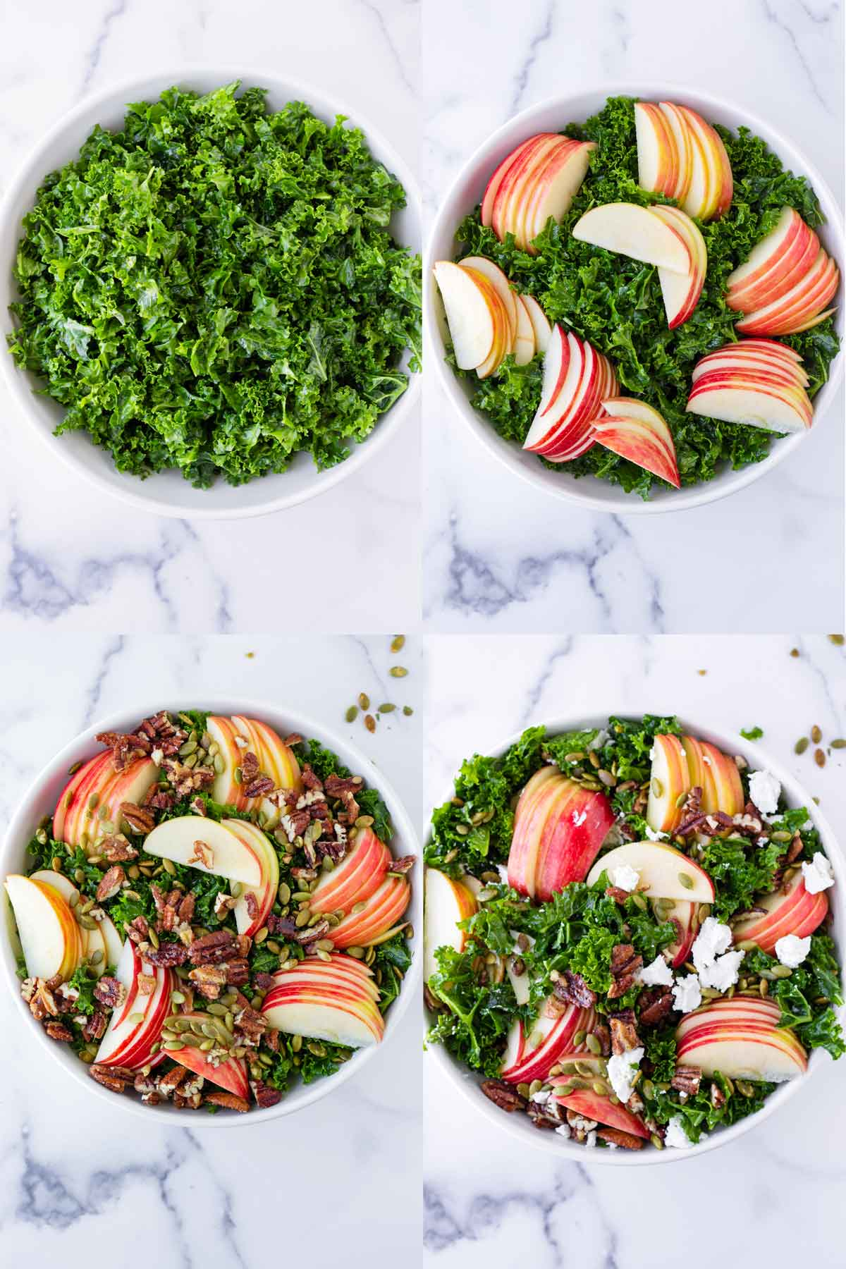 step by step process to assemble a salad