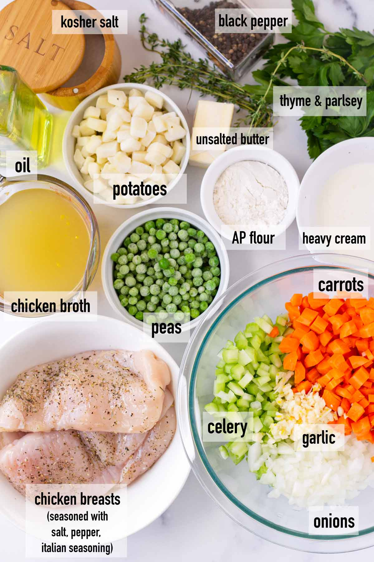 labeled ingredients to make chicken fillinf