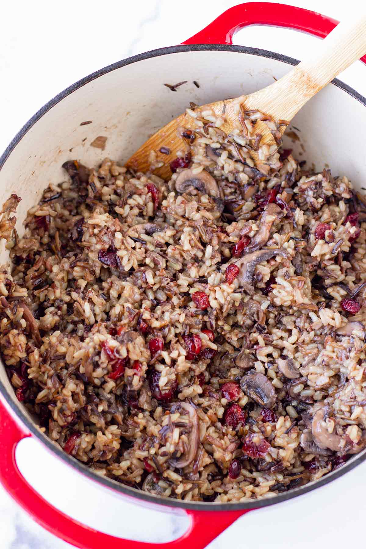 cooked wild rice blend mixed with dried cranberries