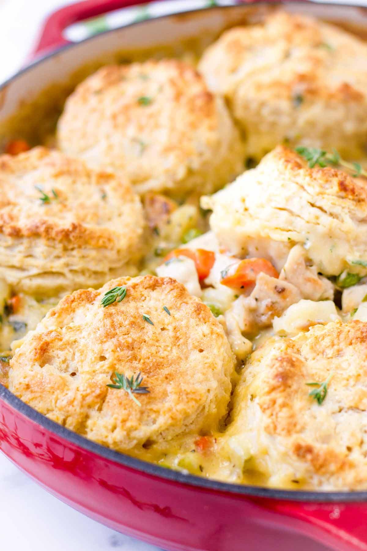close up of biscuit chicken pot pie dish