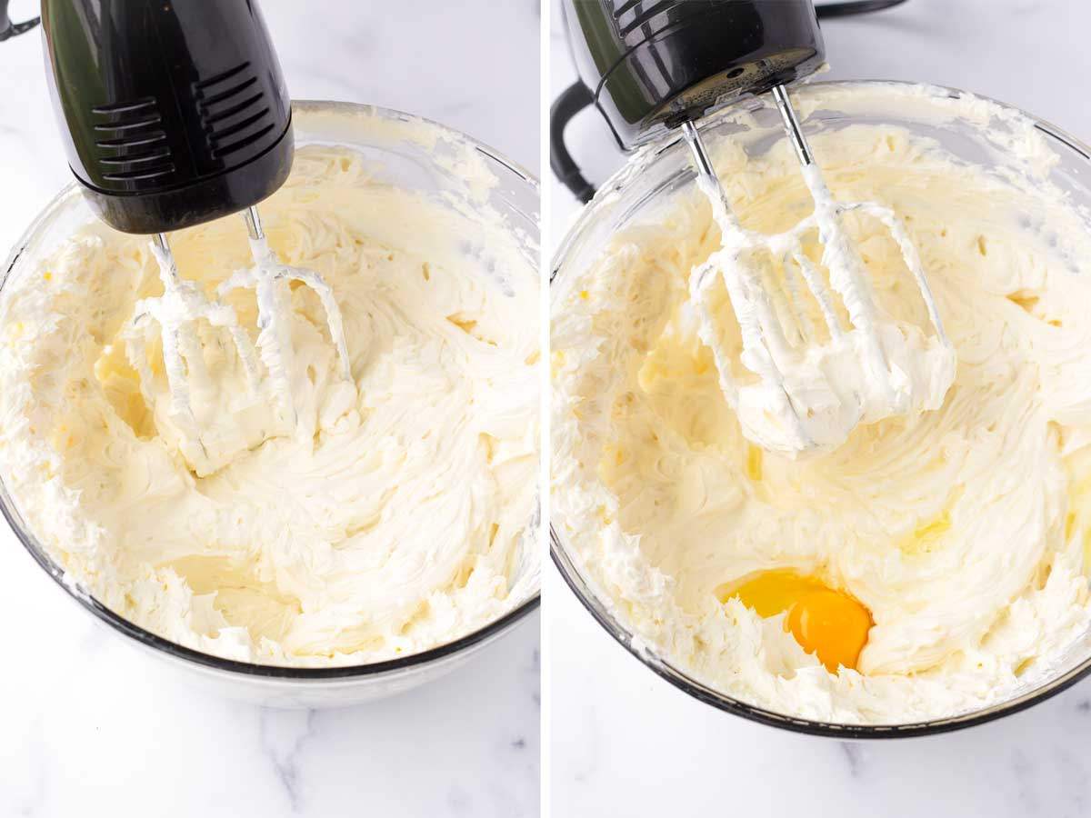 beating cream cheese with sour cream and sugar, plus egg