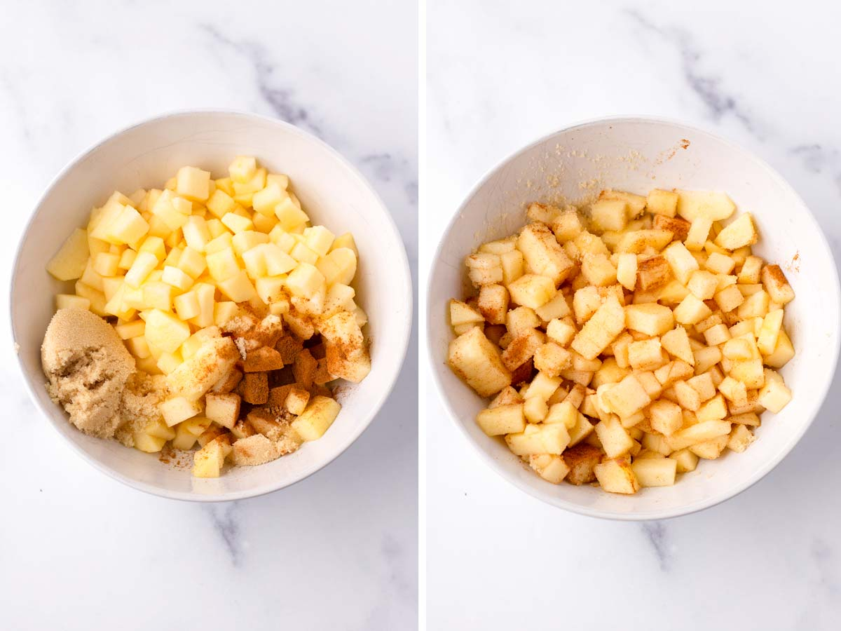 mixing diced apples with sugar and cinnamon