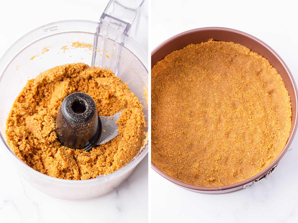 making graham crust in food processor and crumbs pressed on pan
